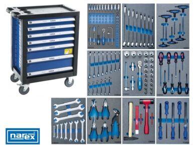 NAREX 443000995 Montážní skříň pojízdná (7 zásuvek) s nářadím 143ks (10modulů)(7915044)