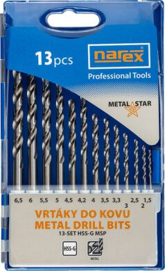 NAREX 65405601 Sada vrtáků do kovu 1,5-6,5mm (13ks) 13-SET HSS-G MSP  (7916051)