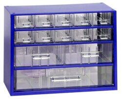 MARS 6761 Skříňka na nářadí 10M modrá-Skříňka MINI 10xA, 2xB, 1xC modrá